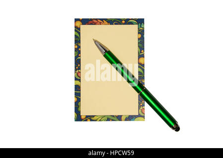 Farbigen Notizblock und einen schwarzen Stift auf einem hölzernen Hintergrund - Stockfoto