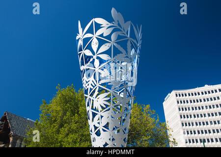 Christchurch, Canterbury, Neuseeland. Der Kelch Skulptur, entworfen von lokalen Künstler und Bildhauer Neil Dawson, - Stockfoto