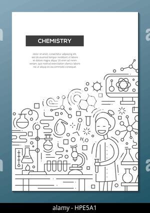 Chemie - Linie Entwurfsvorlage Broschüre Plakat-A4 Vektor Abbildung ...