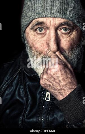 Obdachloser senior Porträt - Stockfoto