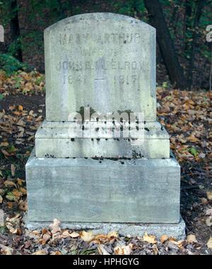 Mary Arthurs Grab in Albany, New York. Sie war die Schwester von Präsident Arthur und diente als First Lady, als - Stockfoto