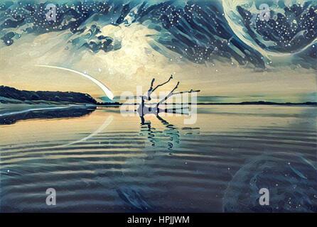 Fantasy-Landschaft Illustration Grafik - See und und Hügel mit Treibholz Reflexion im Wasser, riesigen Planeten - Stockfoto