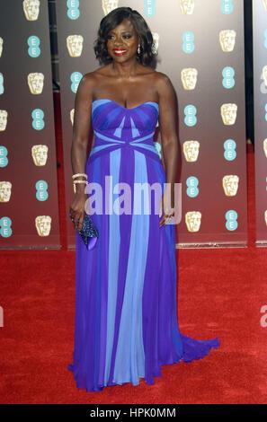 12. Februar 2017 - Viola Davis Teilnahme an EE British Academy Film Awards 2017 am Royal Opera House in London, - Stockfoto
