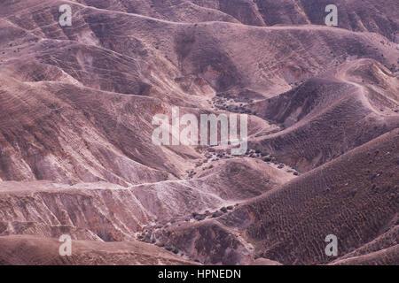 Ansicht des Wadi Qelt auch Wadi Kelt oder Nahal Prat (Hebräisch) ein Tal an der Juda oder Judäische Wüste in der - Stockfoto