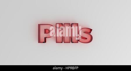 Pillen - rote Glas Text auf weißem Hintergrund - 3D gerenderten Lizenzgebühren freies Bild. - Stockfoto