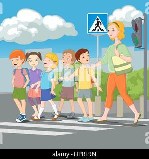 Kinder beim Überqueren der Straße mit Lehrer. Vektor-Illustration. - Stockfoto