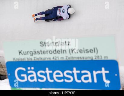 Königssee, Deutschland. 24. Februar 2017. US-amerikanischer Leichtathlet Matthew Antoine in Aktion bei den Bob & - Stockfoto