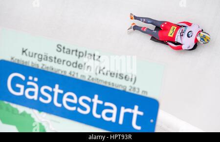 Königssee, Deutschland. 24. Februar 2017. Schweizer Sportler Riet Graf in Aktion bei den Bob & Skelton World Championships - Stockfoto