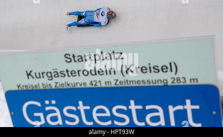 Königssee, Deutschland. 24. Februar 2017. Italienischer Leichtathlet Joseph Luke Ceccini in Aktion bei den Bob & - Stockfoto