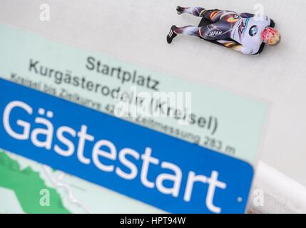Königssee, Deutschland. 24. Februar 2017. Japanische Sportler Hiroatsu Takahashi in Aktion bei den Bob & Skelton - Stockfoto
