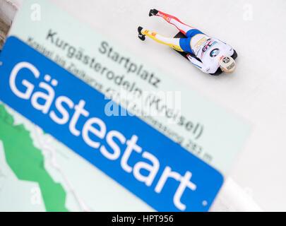 Königssee, Deutschland. 24. Februar 2017. Spanische Sportler Ander Mirambell in Aktion bei den Bob & Skelton World - Stockfoto