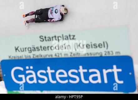 Königssee, Deutschland. 24. Februar 2017. Kanadischer Leichtathlet Barrett Martineau in Aktion bei den Bob & Skelton - Stockfoto