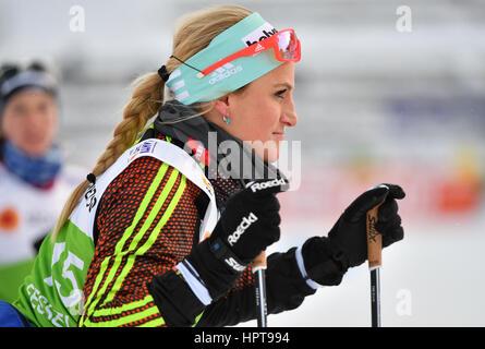 Lahti, Finnland. 24. Februar 2017. Deutsche Athletin Nicole Fessel bereitet auf eine Ausbildung bei den Nordischen - Stockfoto
