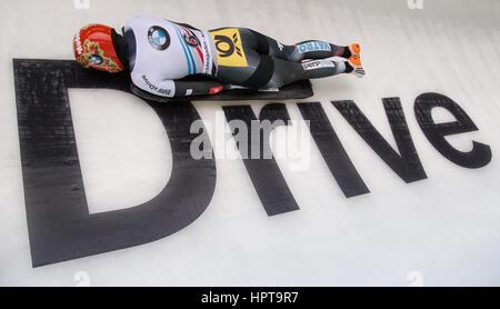 Königssee, Deutschland. 24. Februar 2017. Deutscher Leichtathlet Jacqueline Loelling in Aktion bei der IBSF Bob - Stockfoto