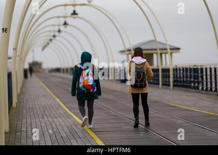 Southport, Merseyside, England.  Das Wetter.  25. Februar 2017. Kalt, nass und windig für ausländische Touristen - Stockfoto