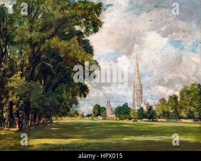"Constable Malerei. ""Kathedrale von Salisbury aus niedrigeren Marsh Nähe"" von John Constable, Öl auf Leinwand, 1820. - Stockfoto"