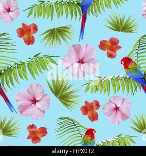 Tropischen Musterdesign print mit exotischen Sommer Natur Dekoration. Enthält Hibiskusblüten, bunte Vögel und Palm - Stockfoto