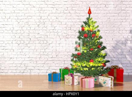 Weihnachtsbaum in weißen Raum