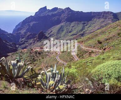 Aussichtspunkt auf dem Weg zum Dorf Masca, die Teno, Teneriffa, Kanarische Inseln, Spanien - Stockfoto