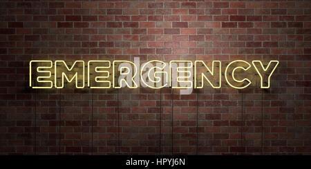 Notfall - fluoreszierende Neon tube Zeichen auf Mauerwerk - Vorderansicht - 3D gerenderten Lizenzgebühren frei Lager - Stockfoto