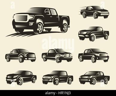 Isolierte monochrome Pickup-Trucks Logo Set, Autos Logos Kollektion, Farbe schwarz-Kraftfahrzeug-Vektor-Illustration. - Stockfoto