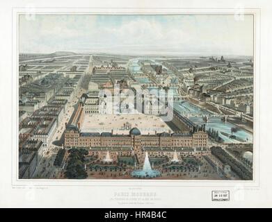 Moderne Paris. Le Louvre, Les Tuileries, et la rue de Rivoli, Vue Prise du Jardin des Tuileries 2 - Stockfoto
