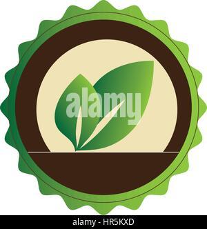 dekorative Runde Emblem mit Blättern Stockfoto