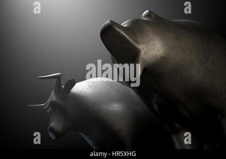 Eine Nahaufnahme von zwei Metall Gussteile mit einem stilisierten Stier neben einem Bären in dramatischen Licht - Stockfoto