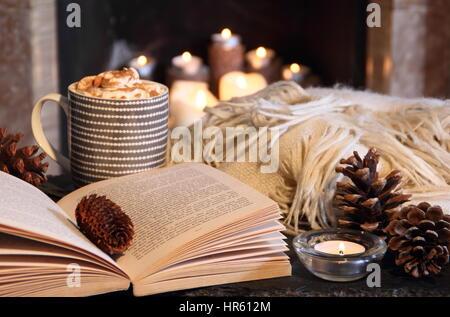 lesen ein taschenbuch von einem kamin in einer gem tlichen hygge inspiriert englisch nach hause. Black Bedroom Furniture Sets. Home Design Ideas