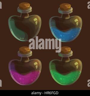 Satz von vier Flaschen mit Poison - in verschiedenen Farben und einem leeren Vektor - Stockfoto