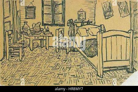 Vincent Van Gogh - Vincents Schlafzimmer - Lettersketch 17. Oktober ...