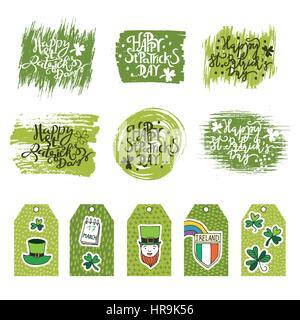 Typografische Gestaltung handgezeichneten Vorlage für St. Patricks Day. Zusammenstellung von Gruß und Einladung - Stockfoto