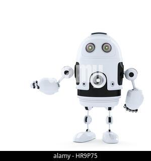 Android Roboter posiert.  Gerendert in weiß - Stockfoto