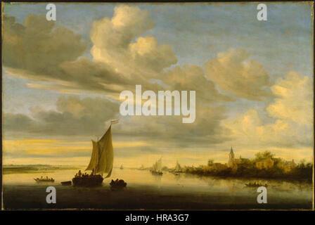 Salomon van Ruysdael - Flusslandschaft - Stockfoto