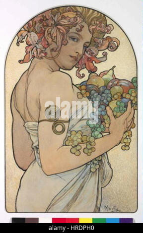 Autor Alfons Mucha 24.7.1860-14.7.1939 - Alegorie Podzimu - Stockfoto