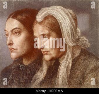 Dante Gabriel Rossetti - Christina und Frances - Stockfoto