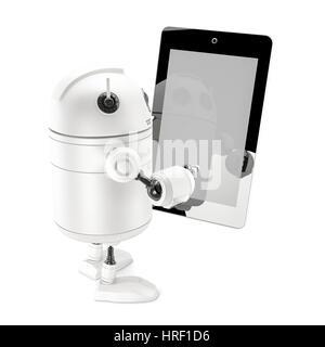 Roboter mit Tablet-PC. Isoliert auf weiss - Stockfoto