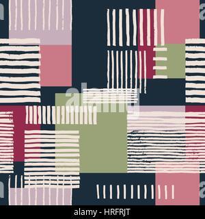 Geometrische nahtlose Streifenmuster.  Handgezeichnete ungleichmäßige Streifen auf bunte Rechtecke, freies Layout. - Stockfoto