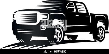 Isolierte Monochrom Gravieren Stil Pickup-Trucks Logo, Autos-Logo, Farbe schwarz-Kraftfahrzeug-Vektor-illustration - Stockfoto