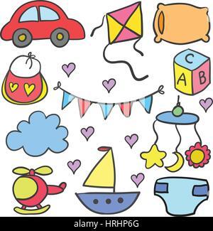 Illustration der Objekt-Baby-Doodle-set - Stockfoto