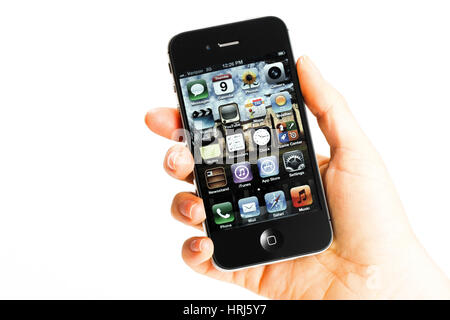 Hand, die ein iphone - Stockfoto