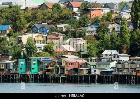 Palafitos, Castro, Archipiélago de Chiloé, Provincia de Chiloé, Región de los Lagos, Patagonien, república de Chile, - Stockfoto