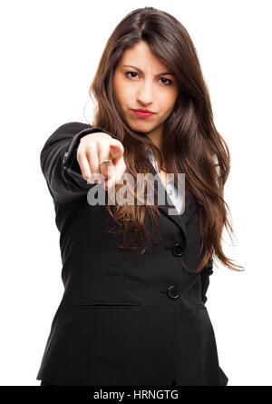 Geschäftsfrau, die auf Sie gerichtet - Stockfoto