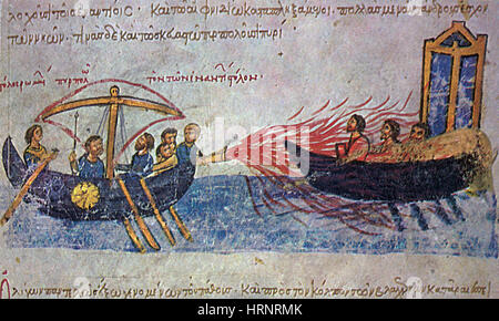 Griechisches Feuer, mittelalterlichen Waffen - Stockfoto