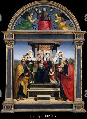Madonna mit Kind und Heiligen, Raphael - Stockfoto