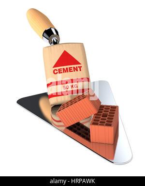 Ziegel mit einer Tasche von Zement und eine große Kelle, Konzept der Bau Website (3d Render) - Stockfoto