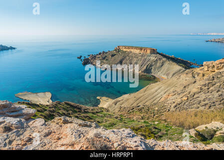 Blick über il-Karraba von ta' Lippija-Turm in der Nord-West Küste von Malta - Stockfoto