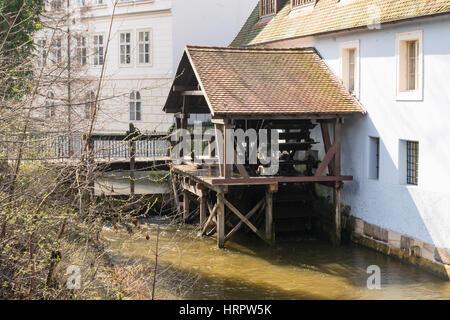 Große vorherige Mühle in Čertovka (des Teufels Kanal), Kampa Insel, Prag, Tschechische Republik, Europa - Stockfoto
