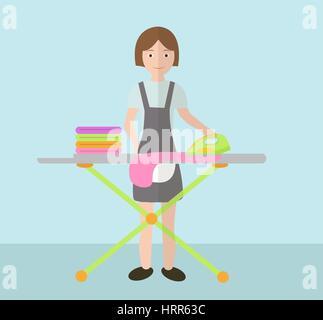 Eine Frau bügelt Kleider. Bügelbrett und Bügeleisen. Vektor-illustration - Stockfoto