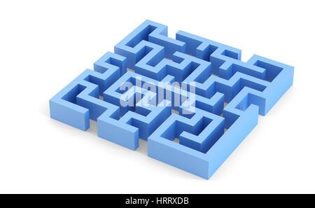 Blau kariert 3D-Labyrinth. Isoliert auf weiß. Clipping-Pfad enthält - Stockfoto